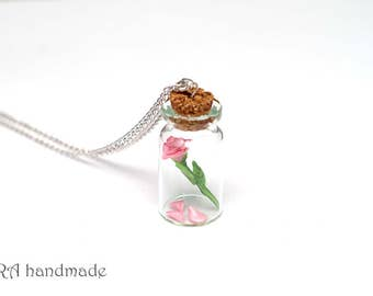 Pink Rose with Fallen Petals in a Glass Jar Necklace