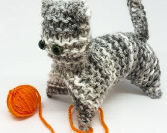 Grey and White Hand Knit Kitten! / cheeky knitted cat / handmade knitted  / green eye / stuffed animal/ christmas stocking filler gift idea