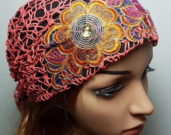 Pink Orange Young Tichel, Jewish Hair Covering, Colorful Head Scarf, Women Hats, Chemo Cap, Headscarves, Pink Headwear, Head Wrap, Bandana