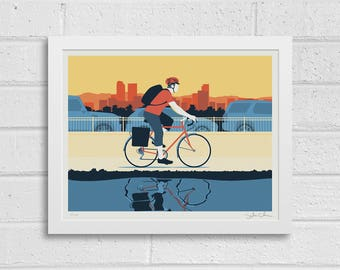 AM Bicycle Commuter Poster • Morning City Bike Ride