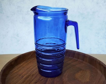 Vintage Blue Glass Dutch Pitcher, Cobalt Blue Water-can