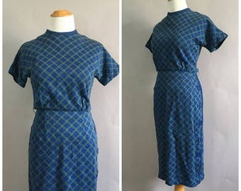 Vintage 1960s Blue Checkered Sheath Dress 50s Fall Wiggle Dress Mad Men Secretary Fitted Joan Holloway Office Wear Dress Size Small