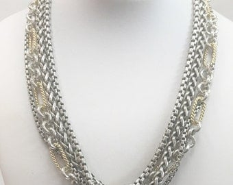 David Yurman Sterling and 18k Layered Chain Necklace