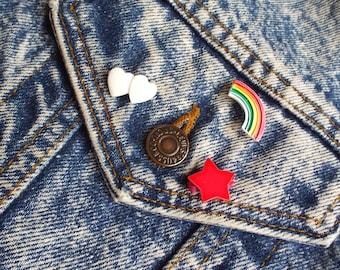 Vintage Deadstock Rainbow Star and Heart Enamel Pin Set