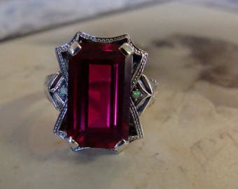 Stunning Sterling Silver Ruby & Opal  Ring  Size 7  Art Deco