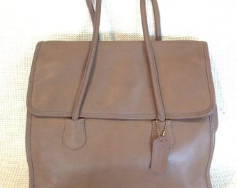 Genuine vintage COACH tan leather shopping tote bag with flap
