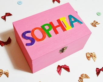 Personalised Childrens Box - Wooden Keepsake Box - Memory Box - Girl Gift - Boy Gift - Baby Shower - Christening - Birthday - 1st Birthday