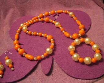 ORANGE And CREAM BIG Beads  Long Necklace Jewelry Set