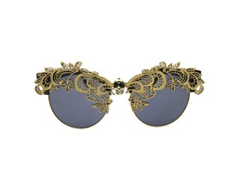 Men's Half Round Retro Handmade Statement Sunglasses - ZILANT