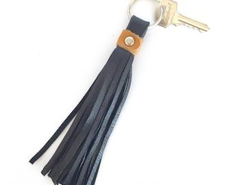 Freya Leather Tassel Key Ring:  Black with Tan