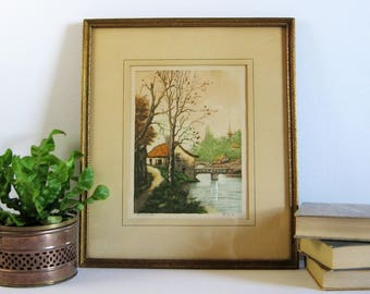 Riverside Cottage Landscape Print - Vintage Framed Art - Paris Etching Society NY - Hand Colored Etching Print by Beyer - Fall Birch Trees