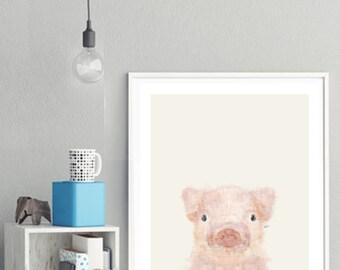 little pig .baby animal portraits.nursery wall art.children's wall decor.nature wall art.little animals art. Giclee fine art prints .