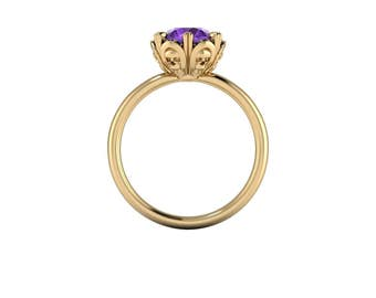 Alice Amethyst Skull Flower Ring : With your choice of center stone size and metal!