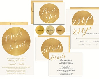 Gold Wedding Invitation Suite Printable | Metallic Wedding Invitation | Faux Gold Foil  Invitation | Elegant Wedding Invite Set | Printed