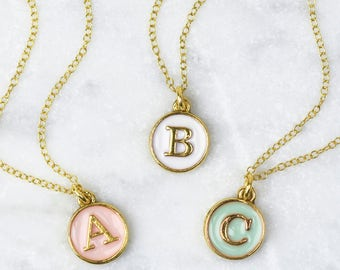 Pastel Initial Necklace, Enamel Initial Necklace, Initial Disc Necklace, Gold Initial Necklace, Letter Charm, Personalised Necklace