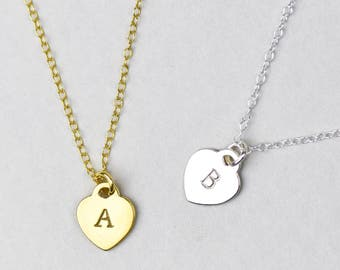 Heart Initial Necklace, Sterling Silver Heart Necklace, Gold Initial Necklace, Letter Necklace, Personalised Necklace, Initial Pendant