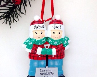 Couple with a Snow Shovel Personalized Christmas Ornament / Shoveling Snow / First Christmas