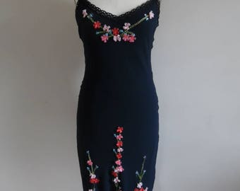 Vintage 1990s Elegant Black Silk Chiffon Slip Dress; Embellished with Colorful Tracery Embroidery and 3D Ribbon Flowers by Betsey Johnson