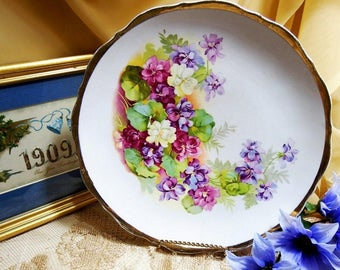 Vintage Floral Plate, Colorful Flowers in Purple, Burgundy, White with Green Foliage and Gold Accented Rim