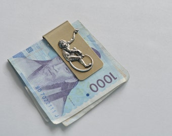 brushed metal monkey money clip