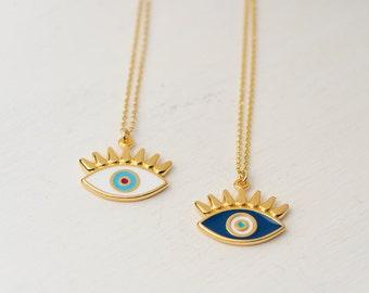Evil Eye Necklace Eye with long lashes Necklace Enamel Necklace Mystical Jewelry Everyday jewelry Layering necklace Rose Gold Gold Necklace