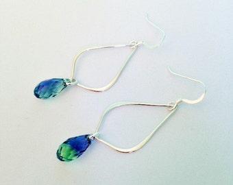 Swarovski crystal earrings - Swarovski earrings - Swarovski Crystal Jewelry - Jewelry gift - Sterling earrings - green blue earrings - Pools