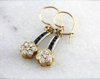 Sapphire and Fine Diamond Drop Earrings in Two Tone Gold C2LQN7-D