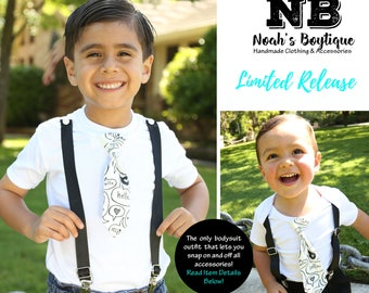 Toddler Boy Clothes - Trendy Black and White Hello - Outfits for Brothers Siblings - Hipster - Big Brother Little Brother Tie and Suspenders