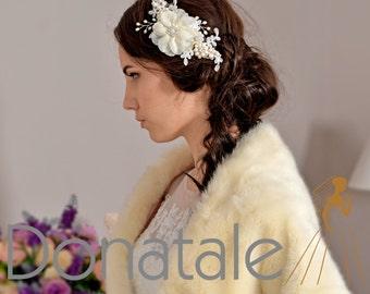Bridal Hair Comb- Ivory Cream Hair Flower with pearls -Wedding Hair Accessories - Wedding Hair piece- Rustic Chic Wedding headpiece- DIANNE