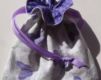 Lavender Butterfly Lined Drawstring Gift or Jewelry Bag