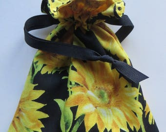 Sunflowers Lined Drawstring Fabric Gift Bag or Jewelry Bag