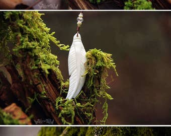 Free Spirit - Carved Bone Feather Necklace