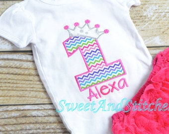 Pink Princess First (1st) Birthday Outfit - First birthday princess outfit!  Pink Princess Cake Smash Outfit, Girls First Birthday Shirt