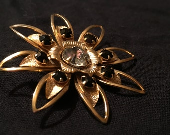 Vintage Gold Tone Flower Brooch With Black and Clear Rhinestones