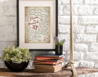 From the Ground Up - Dan + Shay - 1st First Anniversary Gift for husband wife-Song Lyrics-Personalized names, date pick colors verse print