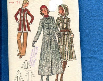 1970's Butterick 6353 Retro Princess Seam Coat with Hood Perfect for Faux Fur Size 5 JUNIOR
