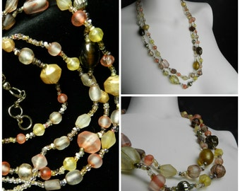 70s glass bead multi coloured two strand adjustable necklace hippie bead necklace amber pink gold