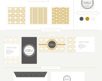 FULL BRANDING PACKAGE includes business cards letterhead stationary  Luxury Circle Frame Logo pattern floral elegant style boutique