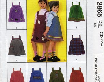 Girl's, Toddler's Jumper pattern, Express Yourself, McCall's 2865, Sizes 2-3-4, flower applique