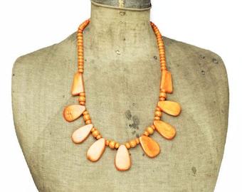 Vintage Orange Bead Necklace, Orange Bib Necklace, Long Orange Necklace, Long Orange Bead Bib Necklace, Orange Wood Bead Necklace