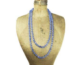 Vintage Blue Glass Bead Necklace, Blue Molded Glass Bead Necklace, Blue Bead Necklace, Long Blue Necklace