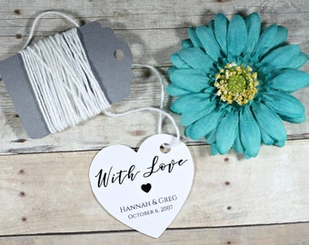 Heart Shaped Wedding Tags Set of 20 - White Thank You Favors - Bridal Shower Tags -  Personalized Shower Ideas - With Love - Bridal Tags