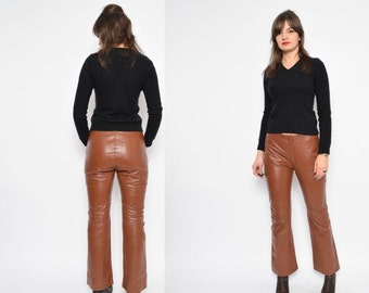 Vintage 90's High Waisted Brown Genuine Leather Pants / Straight Leg Leather Pants / Brown Real Leather Pants - Size Medium