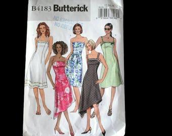 Misses Petite Summer Dress Pattern Asymmetrical Hemline Strapless or Halter Summer Dress Sewing Pattern Butterick B4183 Size 12 14 16