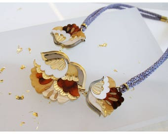 Nouveau Flower Large Necklace: Tortoiseshell. Laser Cut Acrylic Perspex. Marbled Floral Art Deco Retro Cord Bib. Gold Cream Glitter Marble
