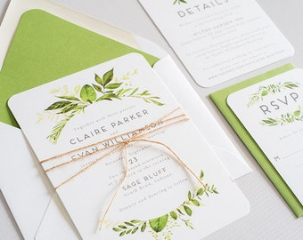 Watercolor Greenery, Woodland Wedding Invitation:  CLAIRE.
