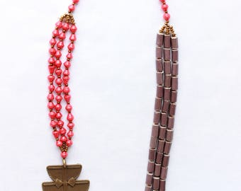 Red and tan African necklace