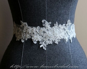 Ivory White Lace on a see through ribbon wedding dress sash belt ,lace Wedding Belt ,Lace Bridal Sash belt