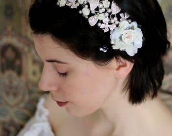 Ivory Bridal Flower Hair Clip, Wedding Hair Accessories, Rose Hair Accessory, White flower hair clip, White rose clip, Bridal hair vine