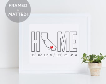 Custom Framed Home State & Coordinates, Realtor Closing Gift, Personalized Home Print, Custom State, Housewarming Gift, Moving Gift